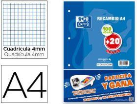 RECAMBIO A4 4 MM 100 + 20 HOJAS GRATIS OXFORD (PAPELERIA)